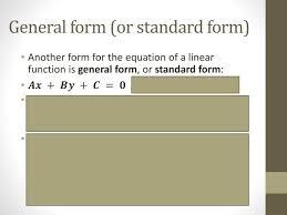 general form or standard form