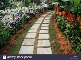 landscaped garden with concrete blocks foot path