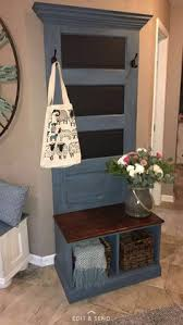 handcrafted hall tree made with antique door this hall tree will pliment any entryway