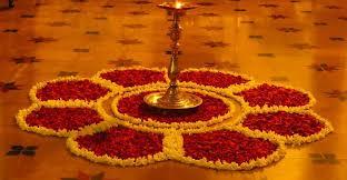 flower rangoli decoration for office