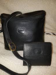 2 vintage longchamp bag cross messenger and wallet black image