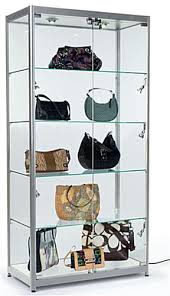 siilver aluminum frame display cases lock to keep merchandise secure