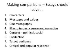 essay workshop objective explore techniques to answer essay making comparisons essays should cover