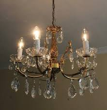 vintage french antique style brass glass crystal 5 arm chandelier