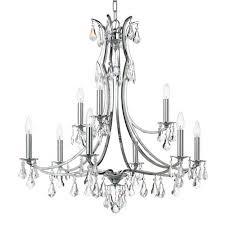 crystorama lighting group cedar polished chrome nine light chandelier