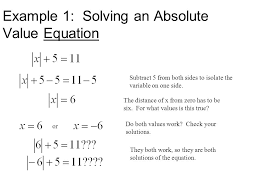 3 example 1 solving an absolute value equation subtract 5 from both sides to isolate the variable