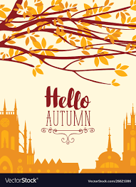 theme urban banner on autumn theme with urban landscape