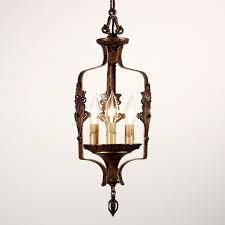 sold fantastic antique three light spanish revival cast iron pendant c 1920s