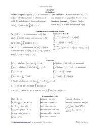 Common Integral Math Common Derivatives And Integrals Cheat