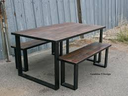 custom made reclaimed wood dining set industrial steel rustic farmhouse table bench