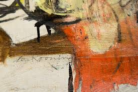 detail and signature from the recovered willem de kooning woman ochre painting