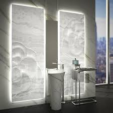 - Panel Marble Sculptured Stone Line Onyx Loonaon And White Tile Backlit