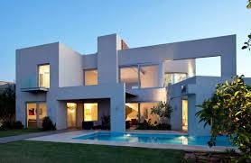 Exterior House Design Ideas With Peach Color Concrete Wall And - Modern exterior home