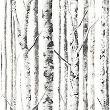 Elephant Wallpaper Birch (Frost) White Gray Silver Black Modern Nature