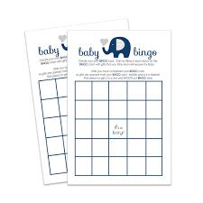 Amazon Com Navy Elephant Baby Shower Bingo Game Fill In