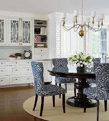 appealing dining room chairs dark color leg white blue pattern dining chair dark color wooden raouded dining table cream rug