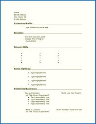 Printable Blank Resume Form Resume Corner