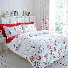 red fl bedding serenity duvet cover set terracotta poly cotton thread count poppy flower cream quilt