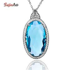 whole szjinao big oval blue topaz healing 925 sterling silver jewelry necklaces pendants for women punk viking vintage gift s18101307 gold