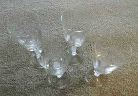 wine glasses with frosted stems set of 4 new unused clean clear condition