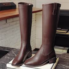 us 57 long style chunky short heel boots for women chunky heels fashion booties knee high boots women s shoes las genuine leather brown color