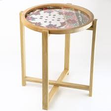 Wooden Side Table Embroidered Flowers Wooden Side Table