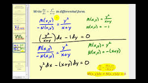 standard and diffeial form of first order diffeial equations