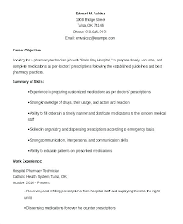 Hospital Pharmacy Technician Job Description For Resume