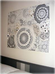 Upcycled Wall Art Diy Doily Craft Ideas Vintage Buttons And Walls
