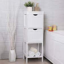White Multifunctional Bathroom Storage Cabinet With 2 Drawers Overstock 32782161
