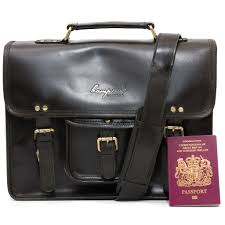 black leather satchel briefcase panbride front