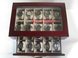 20 watch quality rosewood glass top storage display case for extra large watches up to 60mm