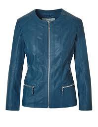 turquoise faux leather jacket dark turquoise hi res