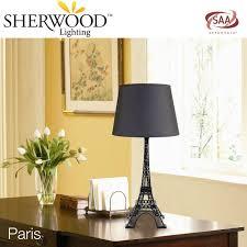 paris eiffel tower table lamp w black shade