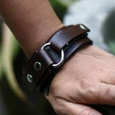 men s leather wristband bracelet bold brown
