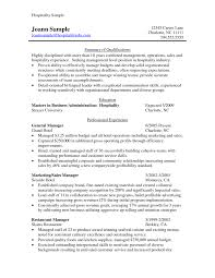 Cover Letter Hospitality Resume Templates Free Hotel Management