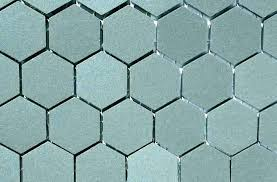 hexagon tile large grey floor black backsplash floo