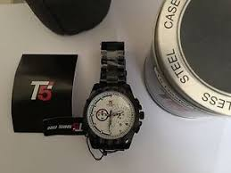 t5 chronograph h3388g mens black stainless steel watch image is loading t5 chronograph h3388g mens black stainless steel watch