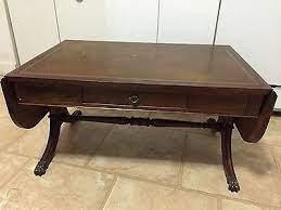 Duncan phyfe 42 half moon accent coffee table w. Duncan Phyfe Drop Leaf Leather Top Coffee Table Brass Claw Feet Mahogany 1695637113