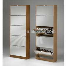 Super Quality Closed Iron Shoe Cabinet Design Black-white Color Shoe Rack  Standing Mirror Shoe
