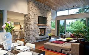 ... Home Decorating Ideas For Living Rooms Best Interior Design Parquete  Floor Stone Fireplace Brown Fabric Sofa ...