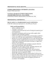 Vet Tech Resume Samples Sterile Processing Resume Resume Without