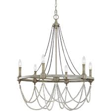 beverly 6 light chandelier french washed oak distressed white wood
