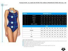 Arena Swim Size Chart 21 Best Size Charts Images Size Chart Swimsuits One