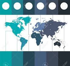 Infographics World Maps Of Continents Blue Colors On White Background