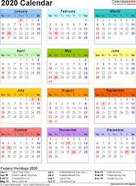 Calendar Formats 2020 Calendar 17 Free Printable Word Calendar Templates