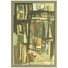 mid 20th century american abstract expressionist oil painting for