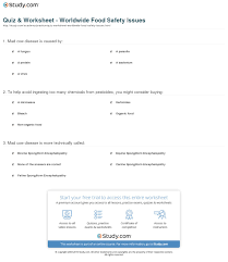 quiz worksheet worldwide food safety issues study com print concerns for food safety around the world worksheet
