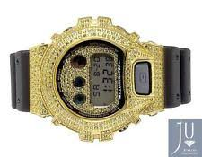 casio g shock diamond mens casio g shock 6900 yellow gold plated canary simulated diamond watch 5 5 ct