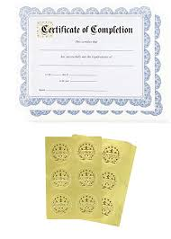 Certificate Of Completeion Certificate Paper 48 Certificate Of Completion Award Certificates With 48 Excellence Gold Foil Seal Stickers For Student Teacher Professor Blue